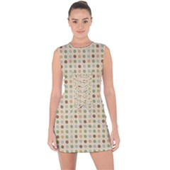 Green Brown Eggs Lace Up Front Bodycon Dress