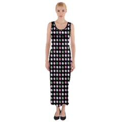 Pink Green Eggs On Black Fitted Maxi Dress
