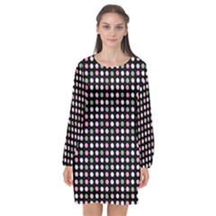 Pink Green Eggs On Black Long Sleeve Chiffon Shift Dress