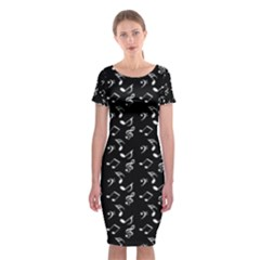 Black Music Notes Classic Short Sleeve Midi Dress