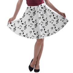 White Music Notes A Line Skater Skirt