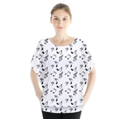 White Music Notes Blouse