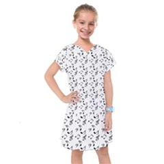 White Music Notes Kids  Drop Waist Dress
