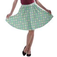 Pink Peach Green Eggs On Seafoam A Line Skater Skirt
