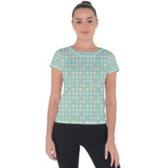 Pink Peach Green Eggs On Seafoam Short Sleeve Sports Top