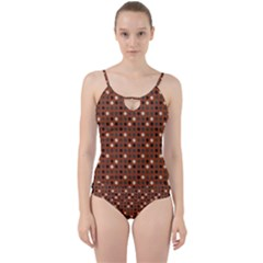 Grey Eggs On Russet Brown Cut Out Top Tankini Set