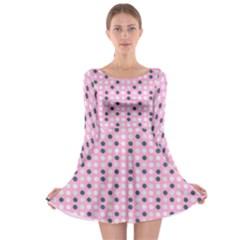 Teal White Eggs On Pink Long Sleeve Skater Dress