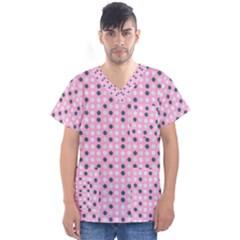 Teal White Eggs On Pink Men s V Neck Scrub Top
