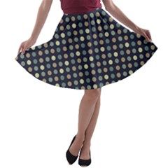 Beige Blue Cream Eggs On Grey Blue A Line Skater Skirt