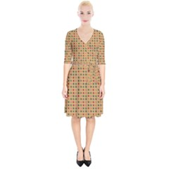 Grey Brown Eggs On Beige Wrap Up Cocktail Dress