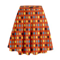 Yellow Black Grey Eggs On Red High Waist Skirt