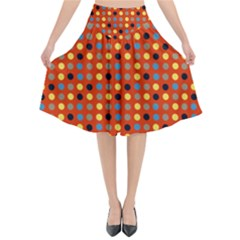 Yellow Black Grey Eggs On Red Flared Midi Skirt