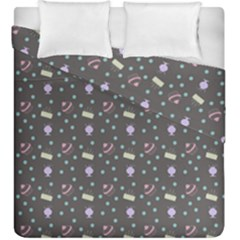 Cakes Yellow Pink Dot Sundaes Grey Duvet Cover Double Side (king Size)