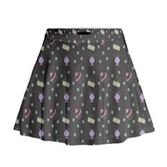 Cakes Yellow Pink Dot Sundaes Grey Mini Flare Skirt