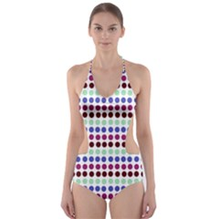 Multi White Dots Cut Out One Piece Swimsuit