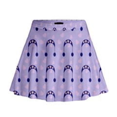 Winter Hat Snow Heart Lilac Blue Mini Flare Skirt