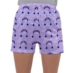 Winter Hat Snow Heart Lilac Blue Sleepwear Shorts