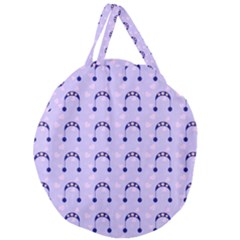 Winter Hat Snow Heart Lilac Blue Giant Round Zipper Tote