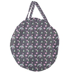 Winter Hat Hearts Snow Green Grey Giant Round Zipper Tote