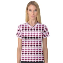 Pink Red Dots V Neck Sport Mesh Tee