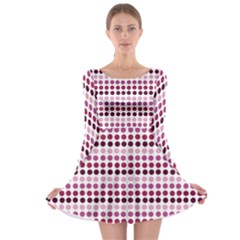 Pink Red Dots Long Sleeve Skater Dress