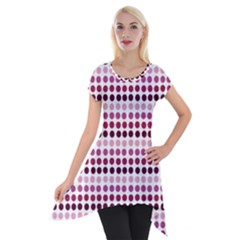 Pink Red Dots Short Sleeve Side Drop Tunic