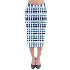 Blue Dots Midi Pencil Skirt