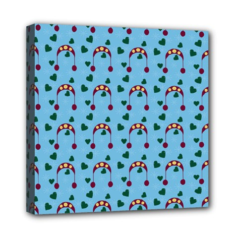 Winter Hat Red Green Hearts Snow Blue Multi Function Bag