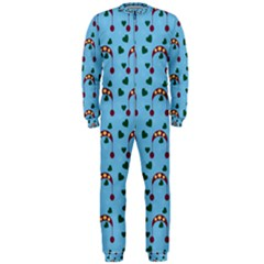 Winter Hat Red Green Hearts Snow Blue Onepiece Jumpsuit (men)