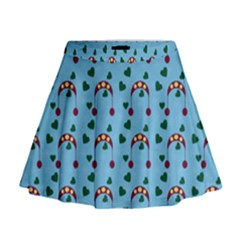 Winter Hat Red Green Hearts Snow Blue Mini Flare Skirt