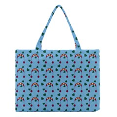 Winter Hat Red Green Hearts Snow Blue Medium Tote Bag