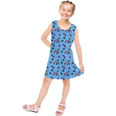 Winter Hat Red Green Hearts Snow Blue Kids  Tunic Dress