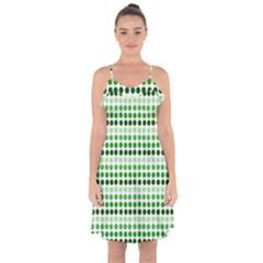 Greenish Dots Ruffle Detail Chiffon Dress