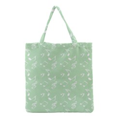 Mint Green White Music Grocery Tote Bag
