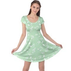 Mint Green White Music Cap Sleeve Dress