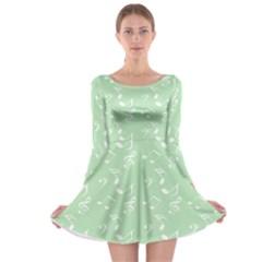 Mint Green White Music Long Sleeve Skater Dress