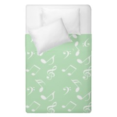 Mint Green White Music Duvet Cover Double Side (single Size)