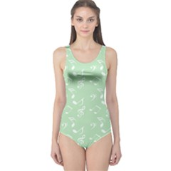 Mint Green White Music One Piece Swimsuit