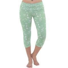 Mint Green White Music Capri Yoga Leggings