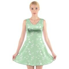 Mint Green White Music V Neck Sleeveless Skater Dress
