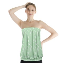 Mint Green White Music Strapless Top