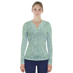 Mint Green White Music V Neck Long Sleeve Top