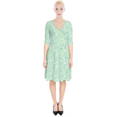 Mint Green White Music Wrap Up Cocktail Dress