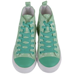 Mint Green White Music Women s Mid Top Canvas Sneakers