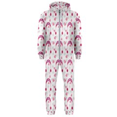 Winter Pink Hat White Heart Snow Hooded Jumpsuit (men)