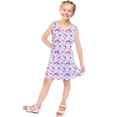 Winter Pink Hat White Heart Snow Kids  Tunic Dress