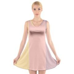 Ice Cream Lines V Neck Sleeveless Skater Dress