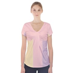 Ice Cream Lines Short Sleeve Front Detail Top