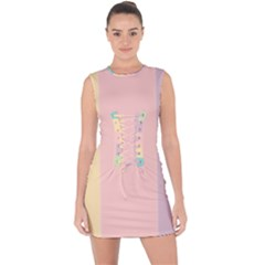 Ice Cream Lines Lace Up Front Bodycon Dress