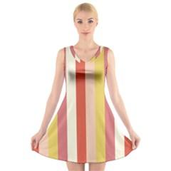 Candy Corn V Neck Sleeveless Skater Dress